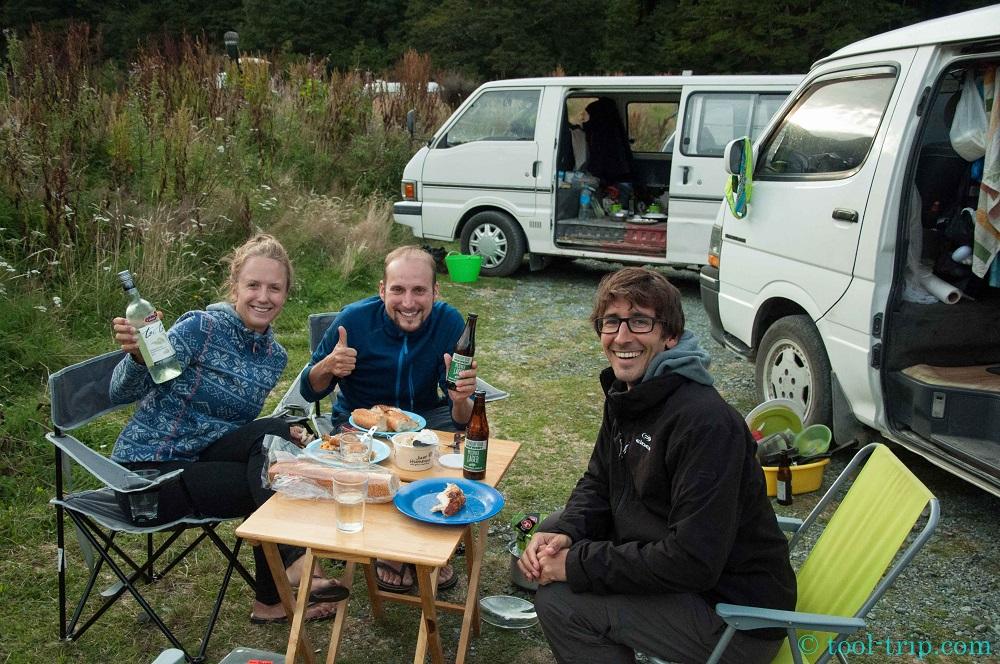 Friends reunion camping